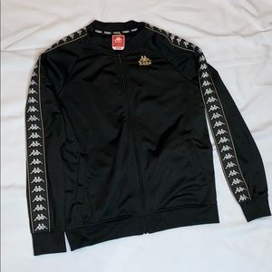 Kappa Black Track Jacket with Gold Stripes